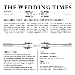 Wedding Invitation: Breaking News, designed by Invitation Gallery (In-House Collection)