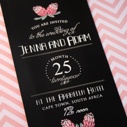 Wedding Invitation: Suikerbos (Sugar bush), designed by Invitation Gallery (In-House Collection)