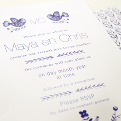 Wedding Invitation: Scandinavian Delft, designed by Invitation Gallery (In-House Collection)