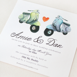 Wedding Invitation: Vespa Love, designed by Invitation Gallery (In-House Collection)