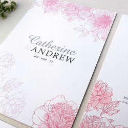 Wedding Invitation: Blushing Peonies, designed by Invitation Gallery (In-House Collection)