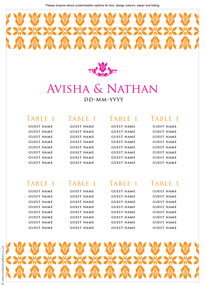 Seating plan - Tangerine: Invitation-gallery-wedding-stationery-eastern-india-foil-seating-plan.png