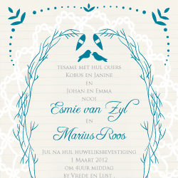 Wedding Invitation: Lacy twigs, designed by Participating studio: Dusty Mountain
