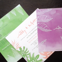 Wedding Invitation: Tropical Bliss, designed by Participating studio: Dusty Mountain