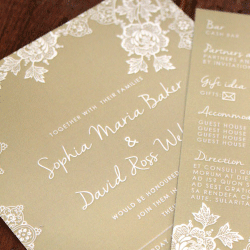 Wedding Invitation: Forever Lace, designed by Participating studio: Dusty Mountain