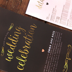 Wedding Invitation: Heart of Gold, designed by Participating studio: Dusty Mountain