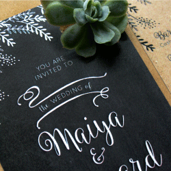 Wedding Invitation: Maiya , designed by Participating studio: Dusty Mountain