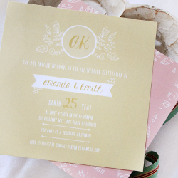 Wedding Invitation: Sugar Blossom, designed by Participating studio: Dusty Mountain