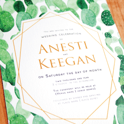 Wedding Invitation: Prickly Pear, designed by Participating studio: Dusty Mountain