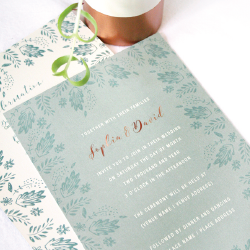 Wedding Invitation: Rosy in Gold, designed by Participating studio: Dusty Mountain