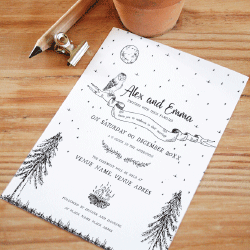 Wedding Invitation: Midsummer Night, designed by Participating studio: Dusty Mountain