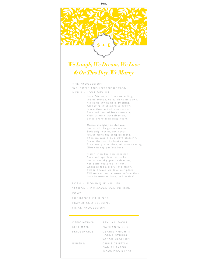Order of service - Summer Romance: SOL001-001-OOS01-FRONT.png