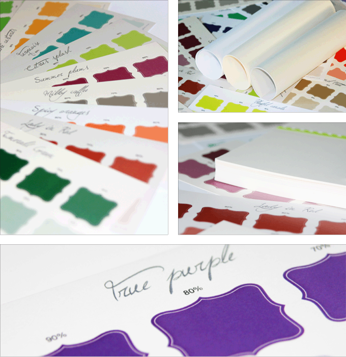 Photo collage of colour palettes printed on a variety of paper